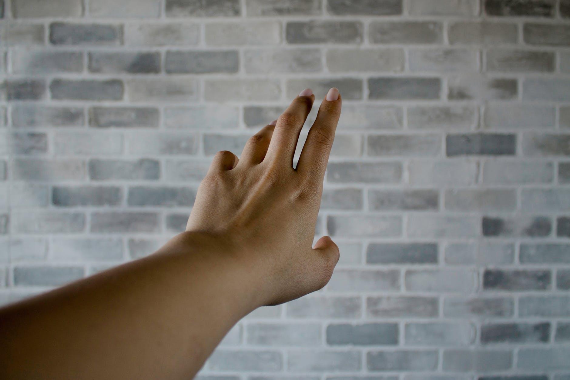 person s left hand near gray cinder bricks